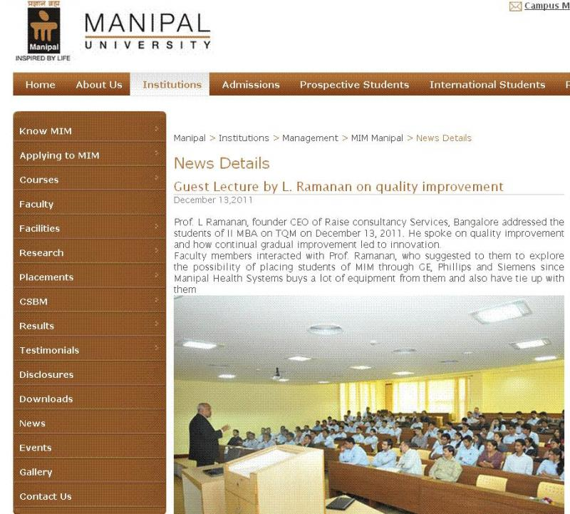Lecture at Manipal University - MIM